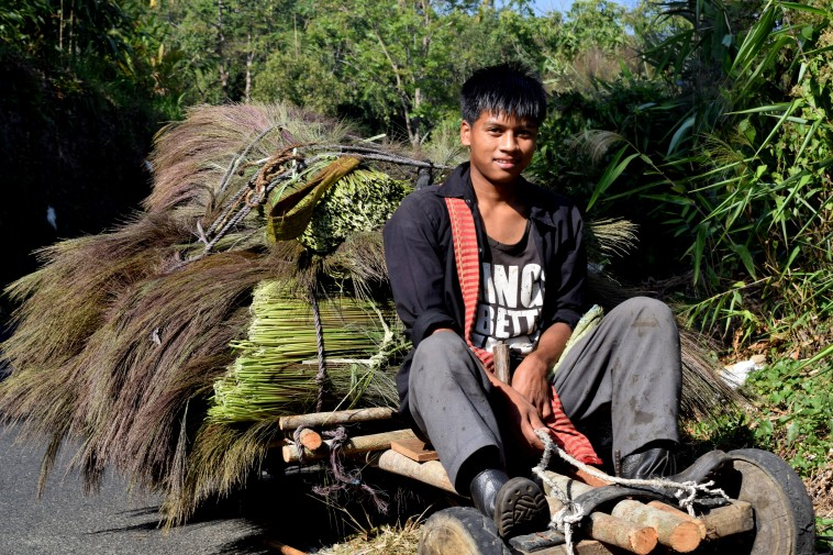 Met this guy on our way, broom making is a major livelihood of the area.