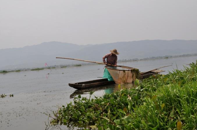 A fisherman on Lake Loktak.