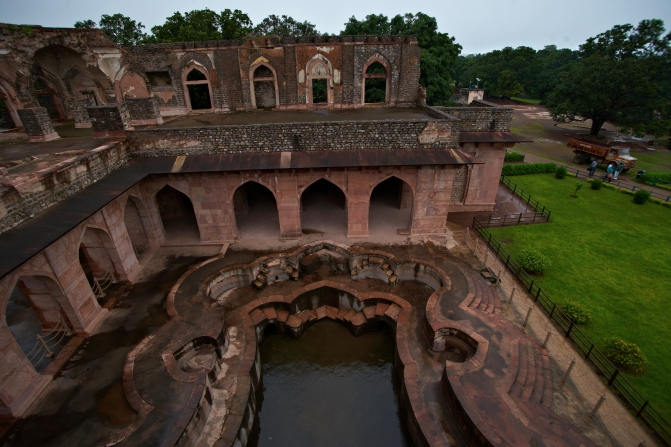 Persian water channeling system in Jahaz Mahal, Mandu