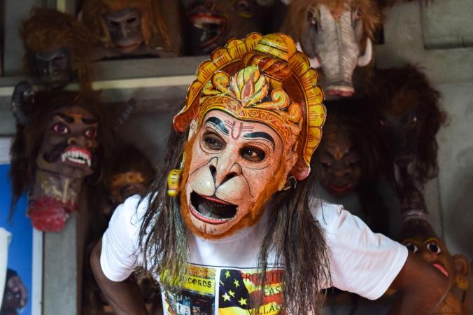 Priest wearing a macabre mask@Samaguri Satra_Majuli