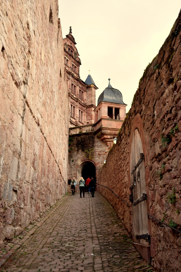 The Heidelberg castle, accessible via a steep, cobbled trail